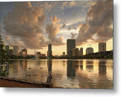 Downtown Orlando Skyline Lake Eola Sunset II Metal Print