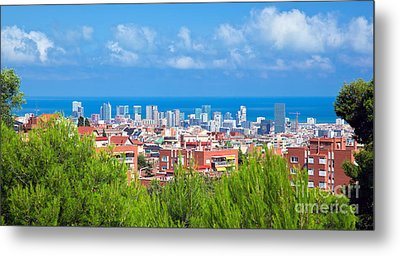Downtown Panorama Of Barcelona Metal Print by Michal Bednarek