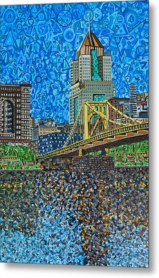 Downtown Pittsburgh - Roberto Clemente Bridge Metal Print by Micah Mullen