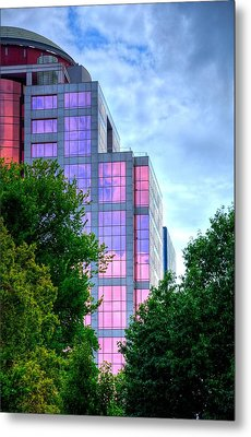 Downtown Reflections 17341 Metal Print by Jerry Sodorff