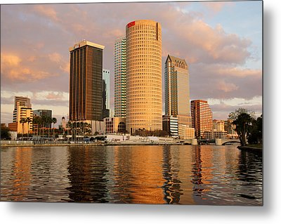 Downtown Tampa At Dusk On Hillsborough River Metal Print
