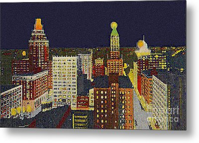 Downtown Tulsa At Night Around 1940 Metal Print
