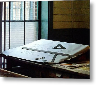 Drafting - Triangle Ruler And Compass Metal Print by Susan Savad
