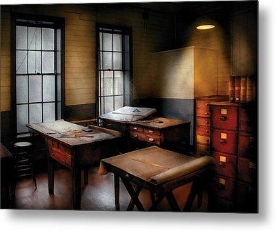 Draftsman - The Drafting Room Metal Print by Mike Savad