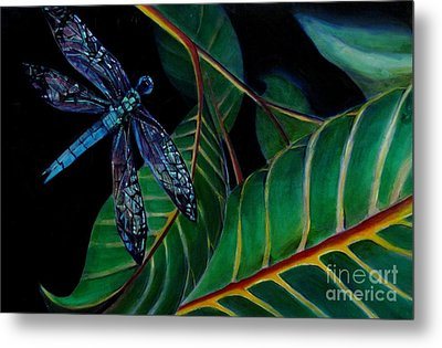 Dragon Fly Soaring - Botanical Metal Print by Grace Liberator