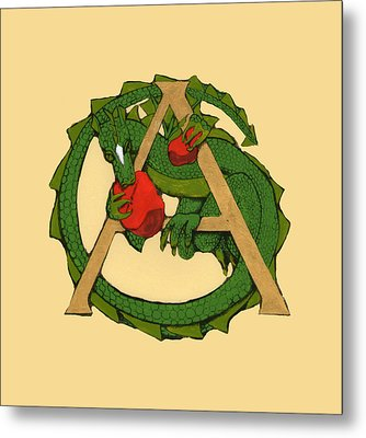 Dragon Letter A Metal Print