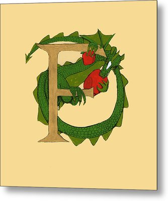 Dragon Letter F Metal Print