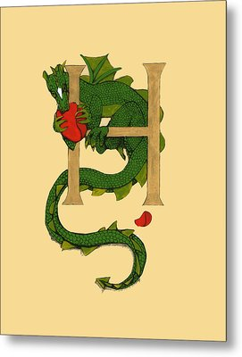 Dragon Letter H Metal Print