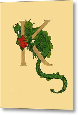 Dragon Letter K Metal Print