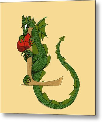 Dragon Letter L Metal Print