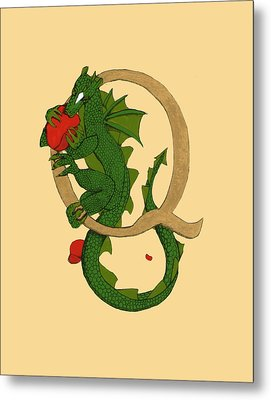 Dragon Letter Q Metal Print