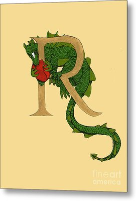 Dragon Letter R Metal Print