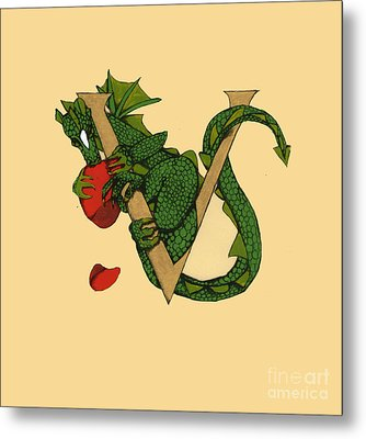 Metal Print featuring the mixed media Dragon Letter V by Donna Huntriss