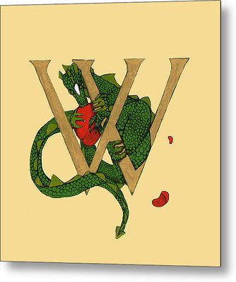 Metal Print featuring the mixed media Dragon Letter W by Donna Huntriss