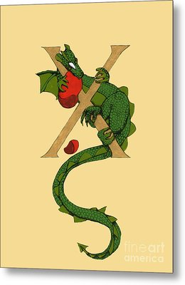 Metal Print featuring the mixed media Dragon Letter X by Donna Huntriss