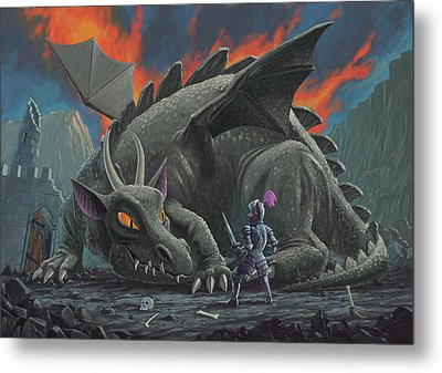 Dragon Looking At Next Meal Metal Print by Martin Davey