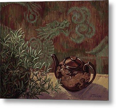 Dragon Teapot Metal Print by Jane Thorpe
