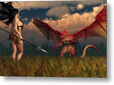Metal Print featuring the digital art Dragon Vs Cavegirl by Kaylee Mason