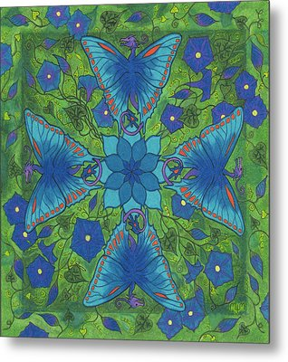 Metal Print featuring the drawing Dragonala Summer by Mary J Winters-Meyer
