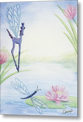 Metal Print featuring the painting Dragonflicker by Cathy Cleveland