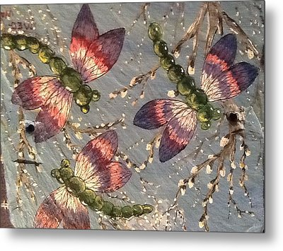 Metal Print featuring the painting Dragonflies 5 by Megan Walsh