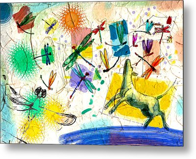 Dragonflies And Dog Metal Print by Nato  Gomes