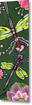 Dragonflies And Water Lilies Metal Print by Genevieve Esson