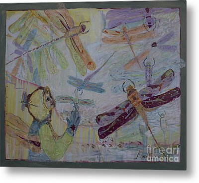 Metal Print featuring the painting Dragonflies In Winter by Avonelle Kelsey