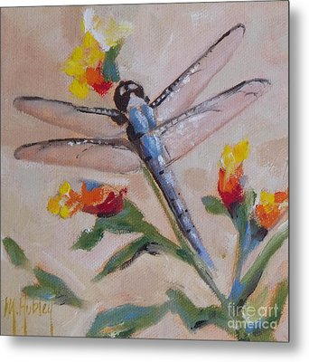 Dragonfly And Flower Metal Print by Mary Hubley