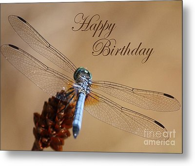 Dragonfly Birthday Card Metal Print by Carol Groenen