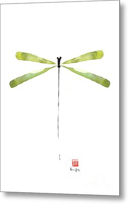 Dragonfly Green Jewel Forest Jewelry Lake Water Watercolor Painting    Metal Print