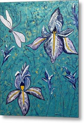 Dragonfly Irises Metal Print by Susan McLean Gray
