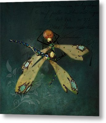 Dragonfly Romance Metal Print