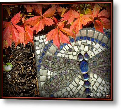Metal Print featuring the photograph Dragonfly Stepping Stone by Heidi Manly