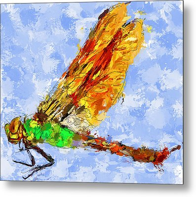 Dragonfly Thinking Metal Print by Yury Malkov