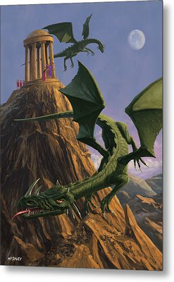 Dragons Flying Around A Temple On Mountain Top  Metal Print