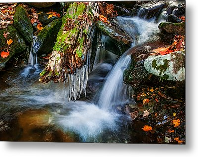 Dragons Teeth Icicles Waterfall Great Smoky Mountains Painted  Metal Print by Rich Franco