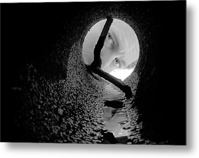 Drain Pipe - Artist Self Portrait Metal Print by Gary Heller