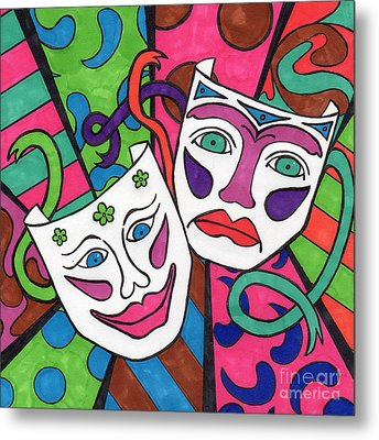 Drama Masks Metal Print