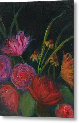 Dramatic Floral Still Life Painting Metal Print by Mary Wolf