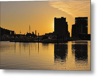 Dramatic Golden Sunrise Baltimore Inner Harbor  Metal Print by Marianne Campolongo