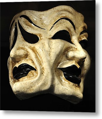 Dramatic Mask Metal Print