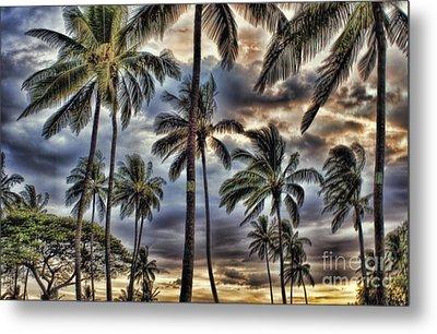Dramatic Maui Sunset Metal Print by Peggy Hughes