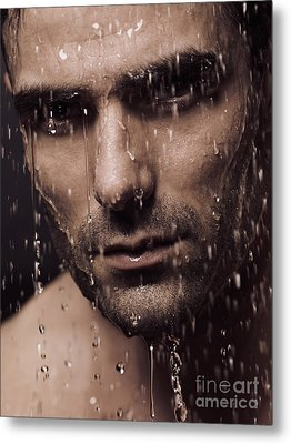 Dramatic Portrait Of Man Face With Water Pouring Over It Metal Print by Oleksiy Maksymenko