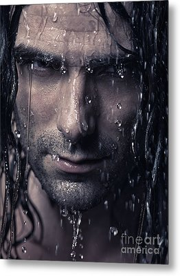 Dramatic Portrait Of Man Wet Face With Long Hair Metal Print