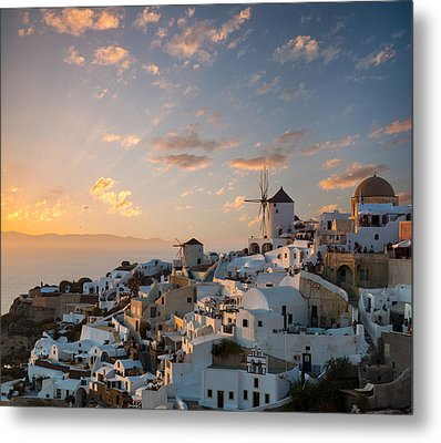 Dramatic Sunset Over The Windmills Of Oia Village In Santorini Metal Print by Gurgen Bakhshetsyan