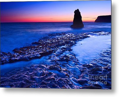 Dramatic Sunset View Of A Sea Stack In Davenport Beach Santa Cruz. Metal Print by Jamie Pham