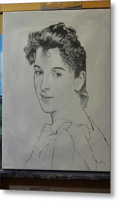 Metal Print featuring the painting drawing for Gabrielle Cot portrait by Glenn Beasley