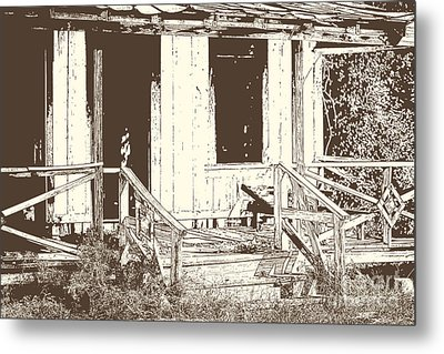 Drawing Of An Old House With Porch In Brown 3000.04 Metal Print by M K  Miller