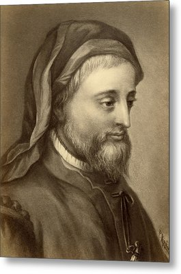 Drawing Of Geoffrey Chaucer Metal Print by Underwood Archives